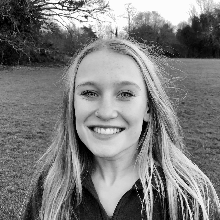 Black-and-white photo of Bethan Adams