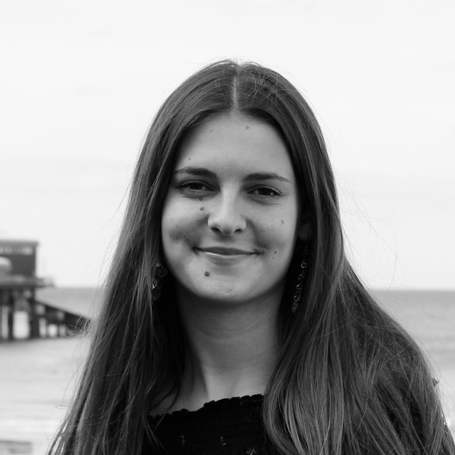 Black-and-white photo of Emily Oldham
