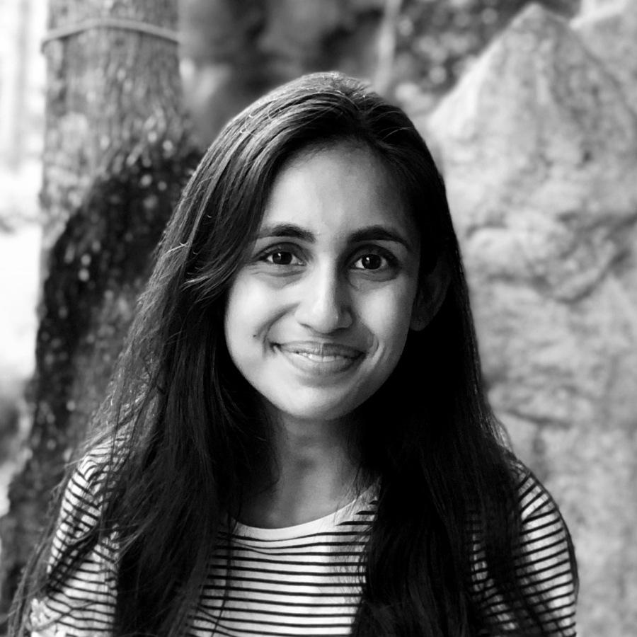 Black-and-white photo of Jaimini Patel