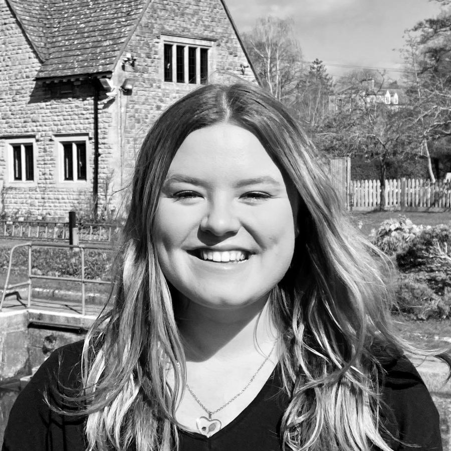 Black-and-white photo of Maddie Whitehead