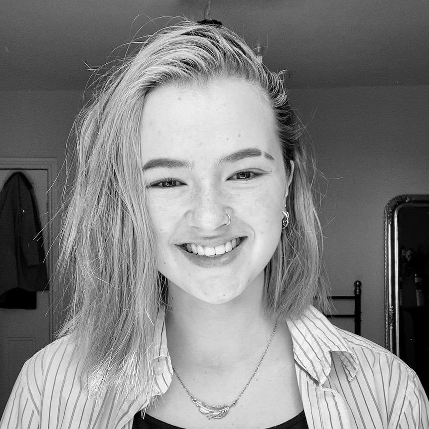 Black-and-white photo of Timea Iliffe